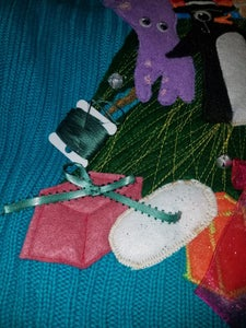 Sewing on Presents, Jingle Bells and Bows