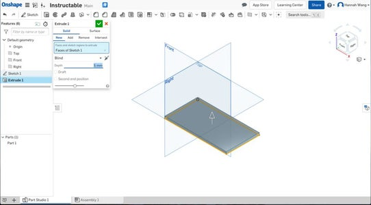 Input Proper Depth of the Extrusion