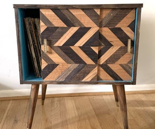 70s Record Cabinet Upcycle With Coffee Stain and Chevron Doors!