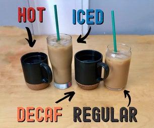 咖啡准备了热水,冰,正常,和无咖啡因咖啡始终可用