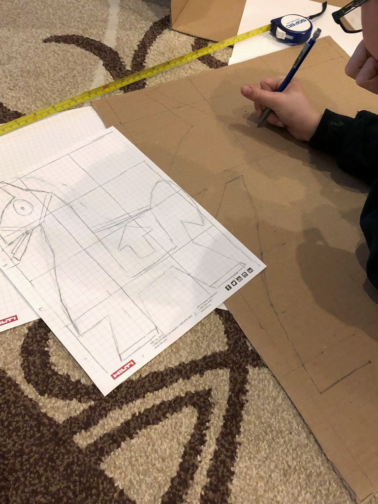 Picture of Transfer Sketch to Full Size on the Cardboard