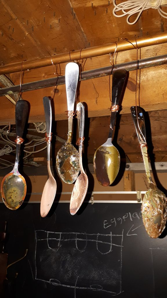 Picture of A Simple Way of Making Art by Electroplating Copper to Steel Spoons.