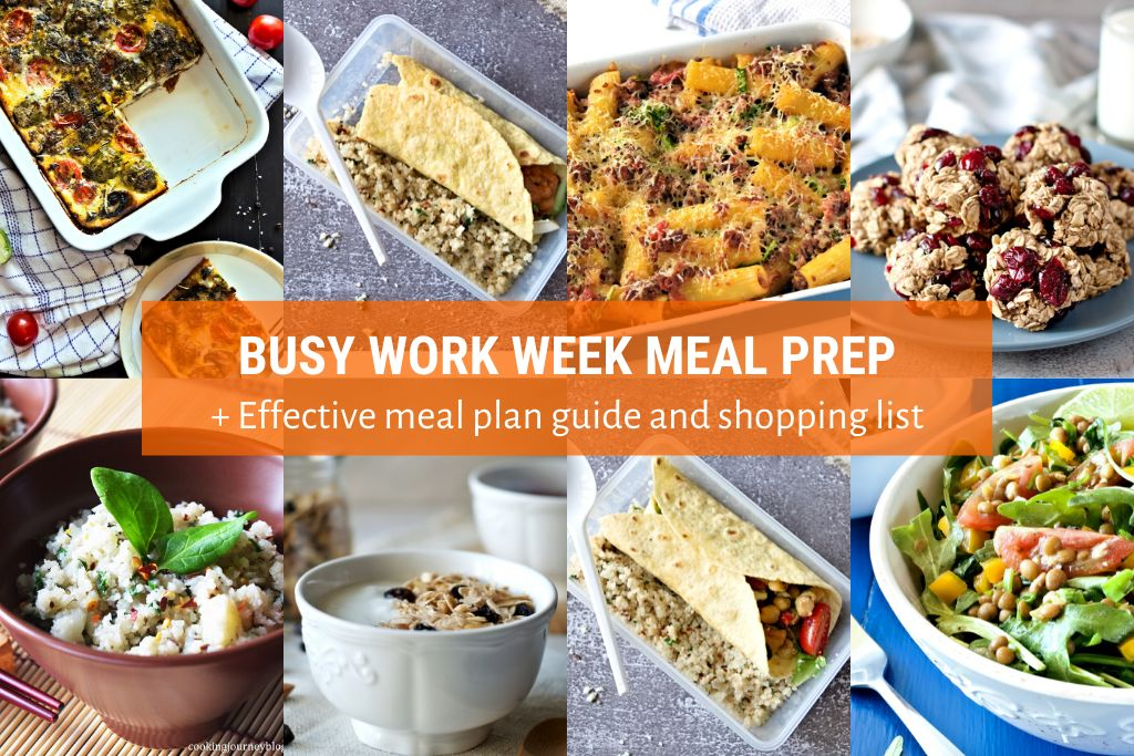 Picture of Busy Work Week Meal Prep + Effective Meal Plan Guide and Shopping List