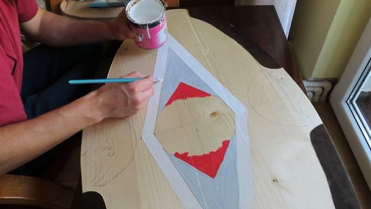We Draw the Shield With Dacian Symbols and Handpaint the Shiled.