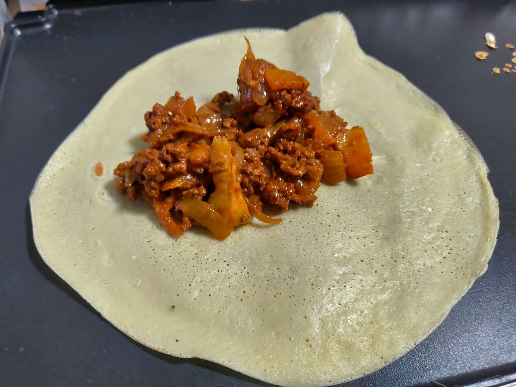 Picture of Korean Style Ground Beef and Caramelized Onion Crepe