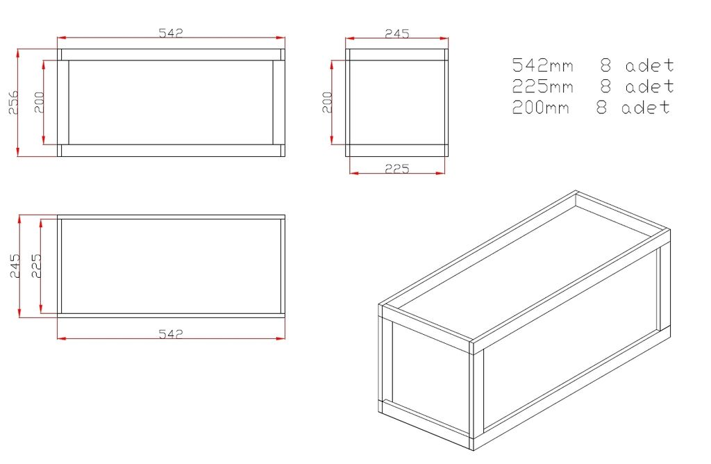 Picture of Drawings and Dimension for the Wood Box