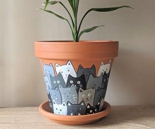 彩绘的猫陶土花盆