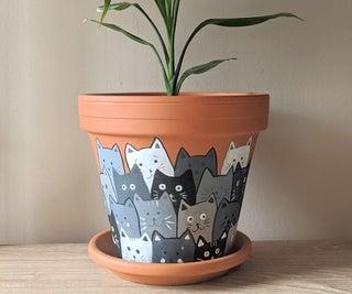 彩绘猫赤陶花盆
