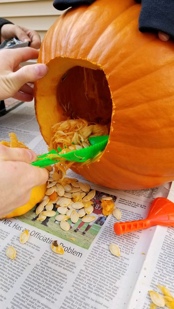 Picture of Cleaning the Pumpkin Out