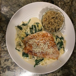 One Pan Creamy Spinach and Artichoke Salmon