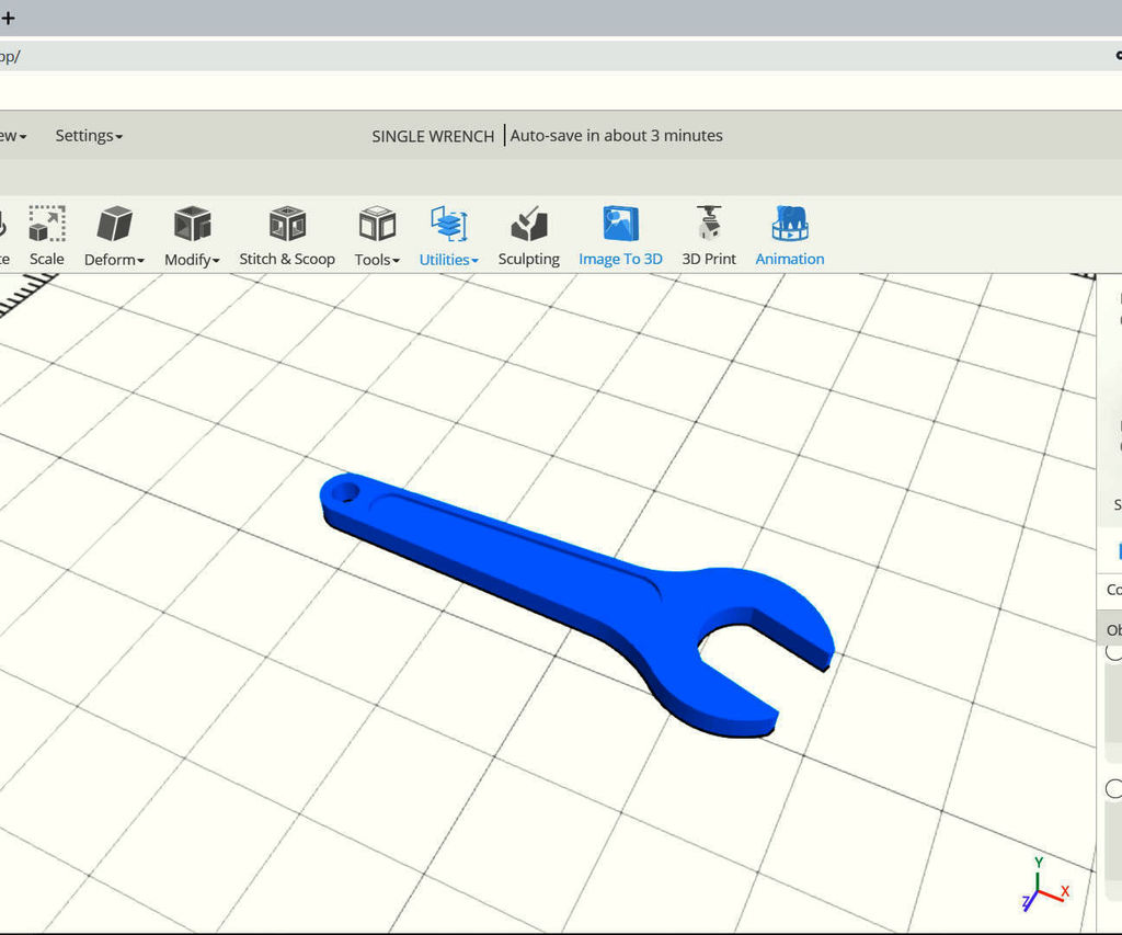 SelfCAD Modeling 3D Single Wrench