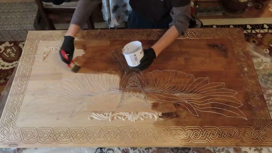 We Apply the Wood Stain.