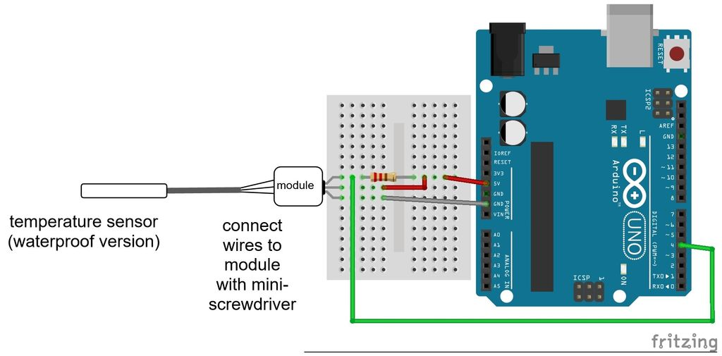 Picture of DS18B20 Circuit Diagram