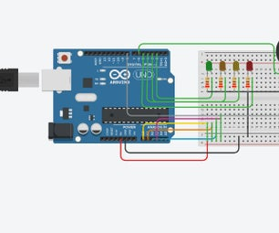 Water Level Indicator Using Arduino in TinkerCad