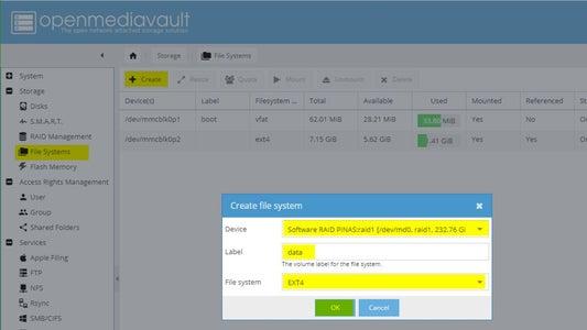 Configuring OMV: Storage