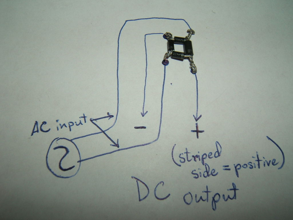 Ac To Dc Converterdiode Bridge 3 Steps Wire For 220v Welder Wiring Diagram Picture Of Twist The All Diodes Legs Around Each Other