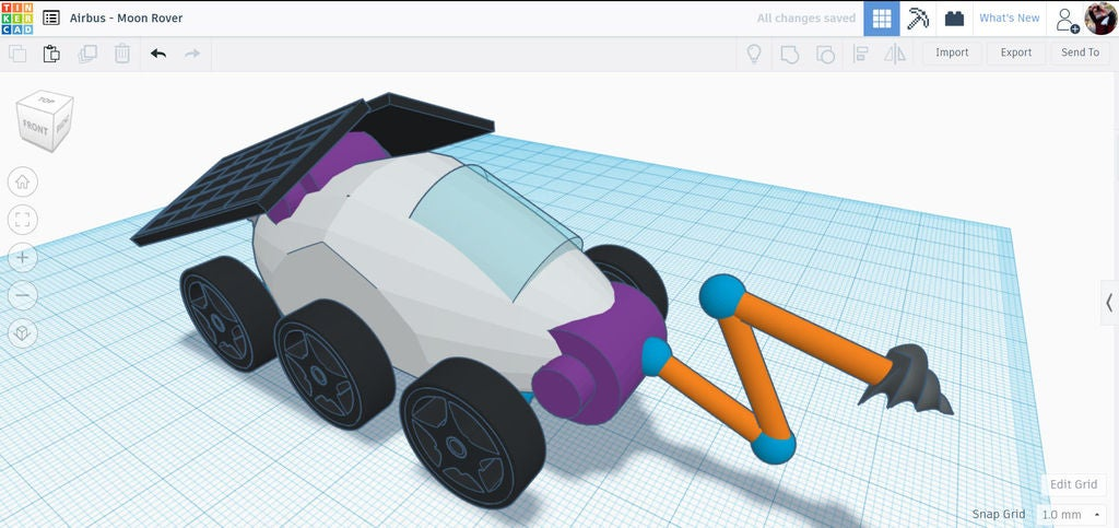 Picture of Design a Moon Rover in Tinkercad