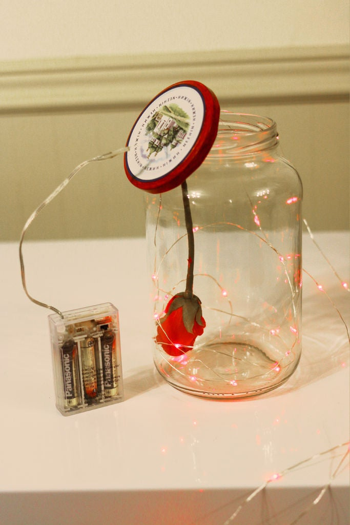 Picture of Try to Toss the String in a Pretty Way. Make Sure to Have Your LEDs Turned on at This Step.