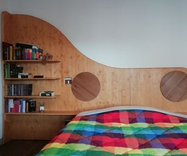 Wave-shaped Headboard With Bookcase