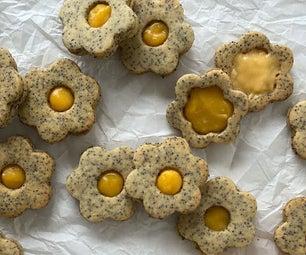 柠檬凝乳和罂粟籽夹心饼干