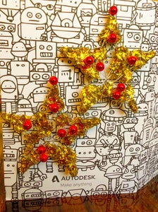 Festive Ugly Beaded Sweater and Star Earrings