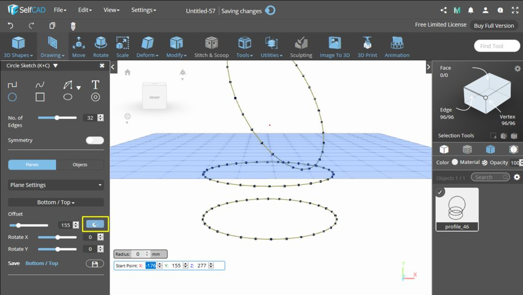 Picture of 3D Sketch: Plane Settings (Offset and Rotation)