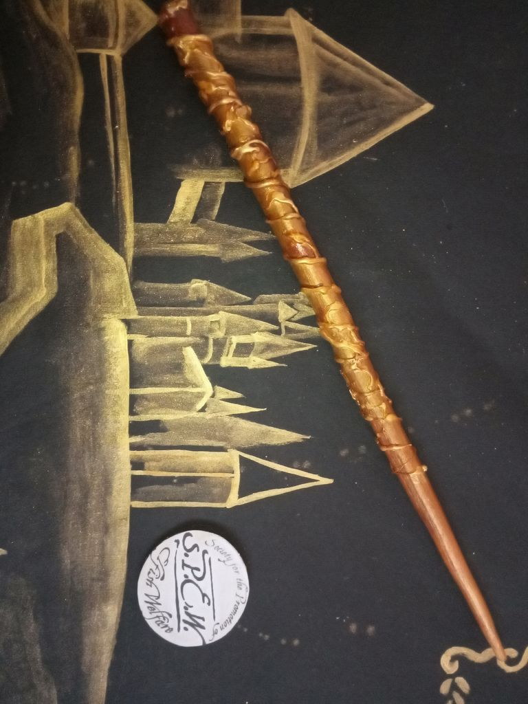 Picture of Hermione Granger's Wand and S.P.E.W Badge
