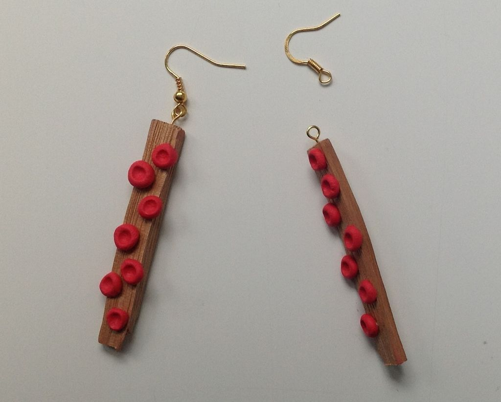 Picture of Red Dot Wooden Earrings With Sugru