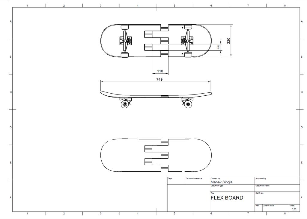 Picture of Dimensions of Skateboard and Part