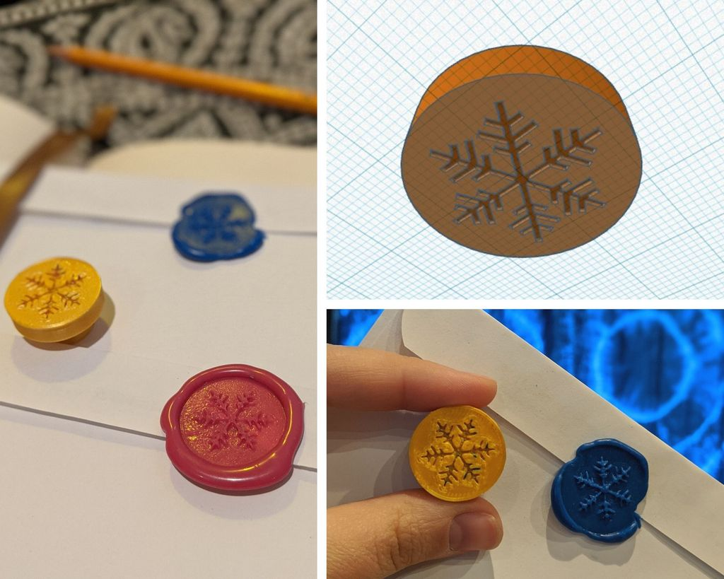Picture of 3D-printed Wax Stamps + Hot Glue/Crayon Wax