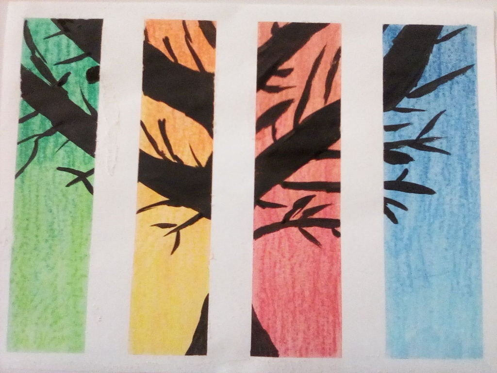Picture of Chalk Pastel and Acrylic Paint Seasons Painting