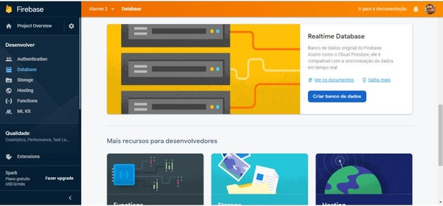 Firebase Passo 7 De 8:  Configurando Nova Database