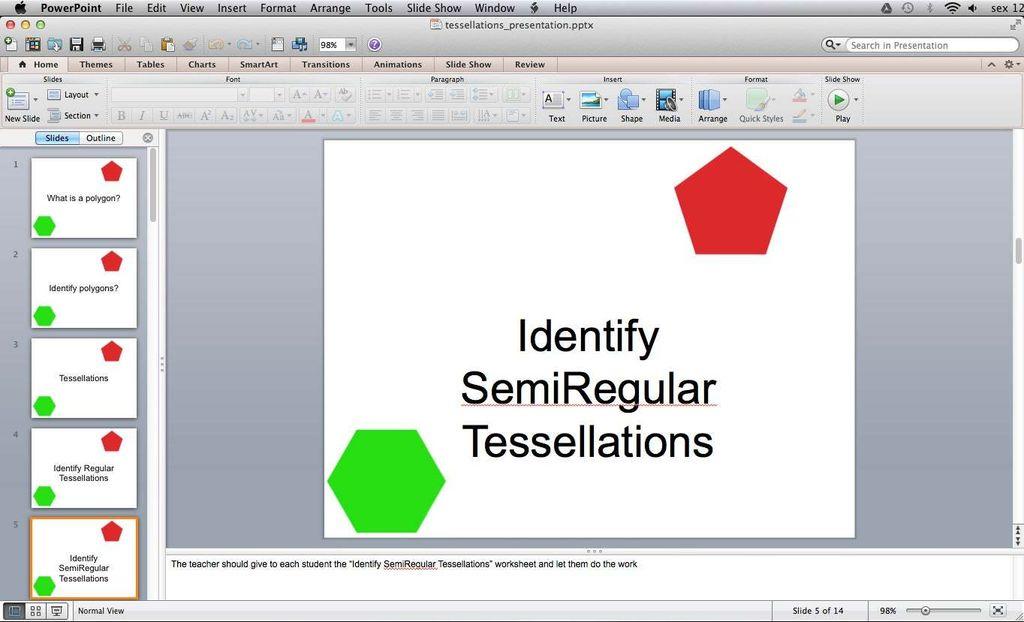 Picture of Classroom Activity - Identify Semi Regular Tessellations