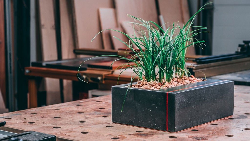 Picture of DIY Table Top Concrete Planter With Wood Inlay