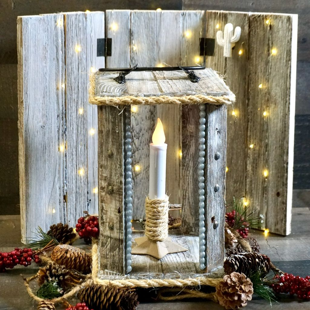 Picture of Pallet Lantern Made With Hot Glue Construction