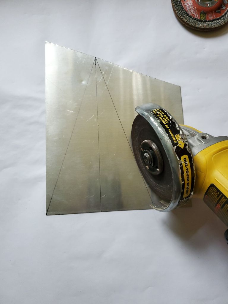 Picture of Start Cutting Triangles Out of the Aluminum Sheets