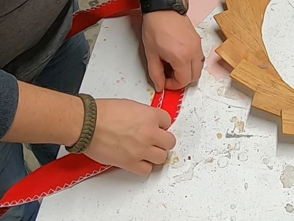 "Picture of Making the Bow - Part 4 - Folding the 36"" Piece"