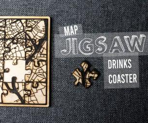 Personalised Map Jigsaw Coasters