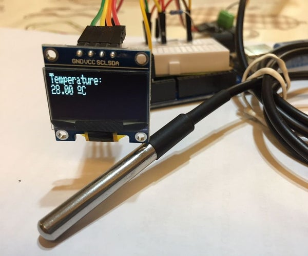 Temperature Probe DS18B20 With OLED Display