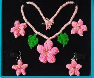 Yarn Necklace With Matching Earrings