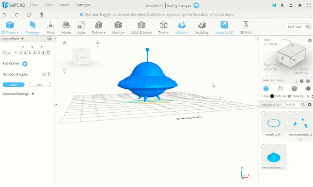 Picture of SelfCAD 3D UFO Tutorial