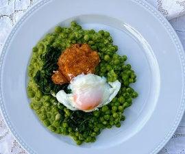豌豆,菠菜和鸡蛋