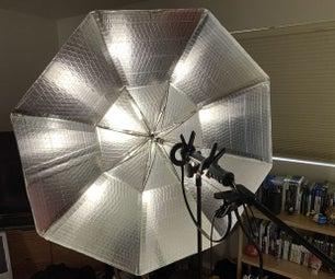 DIY纸板伞灯用于摄影及电影被制作成不同于旧伞