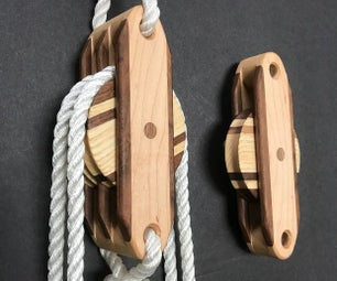 Functional & Decorative Wooden Block and Tackle