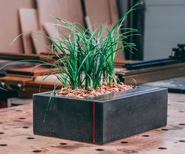 DIY Table Top Concrete Planter With Wood Inlay
