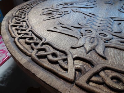 Huge Hand-Carved Celtic Wooden Shield. 1000mm in Diameter!