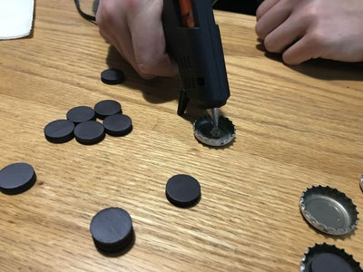 Glue the Magnets to the Bottle Caps