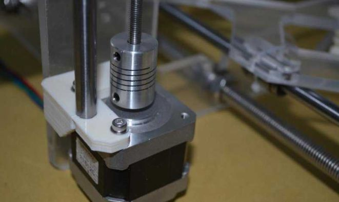 Picture of Fixed Z-axis Motor and Installed Z-axis Slide Rail, Drive Screw