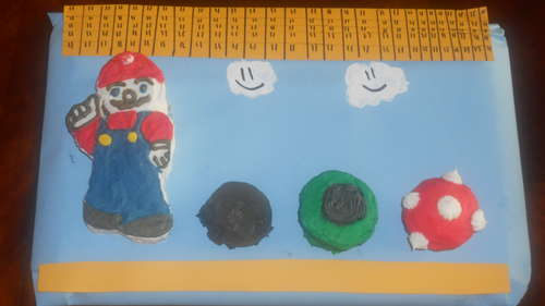 Picture of Mario, Mushroom, Goomba, and Tube Cakes