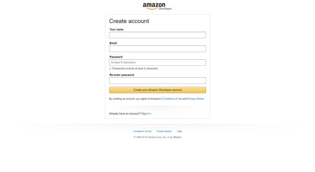 Picture of Erstellen Eines Amazon Developer Accounts